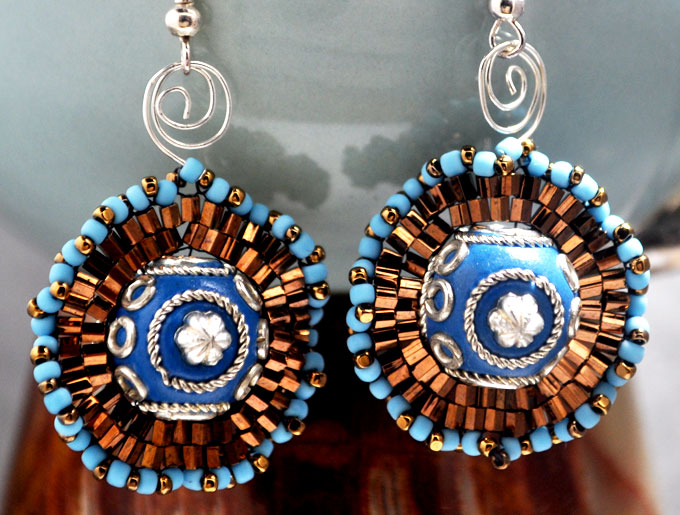 Blue Kashmiri Beads Medallion Earrings